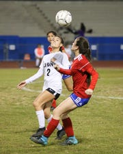 Angel Longoria receiving the ball. The Indio varsity soccer team lost Tuesday's home conference game against Cathedral City (CA) by a score of 7-0.