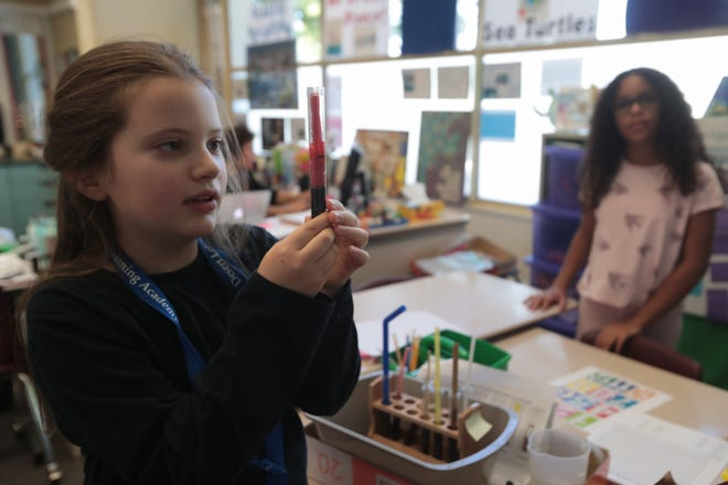 Charlotte Ireland, left, and Maia Houston explain how their fourth grade class at Desert Learning Academy tested different types of non-plastic straws, Palm Springs, Calif., Monday, December 3, 2018.