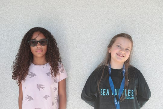 Maia Houston, left, and Charlotte Ireland were two of the fourth grade students at Desert Learning Academy in Palm Springs who presented to City Councilmembers on the dangers of plastics, Tuesday, December 3, 2018.