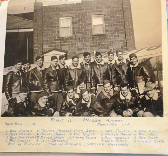 Robert Adams is pictured on the back row, sixth from the left. Wes Piros is kneeling directly in front of Adams. The two reconnected almost 75 years after being in the same training class during Army Air Forces training at Hoosier Air Field in Indiana.