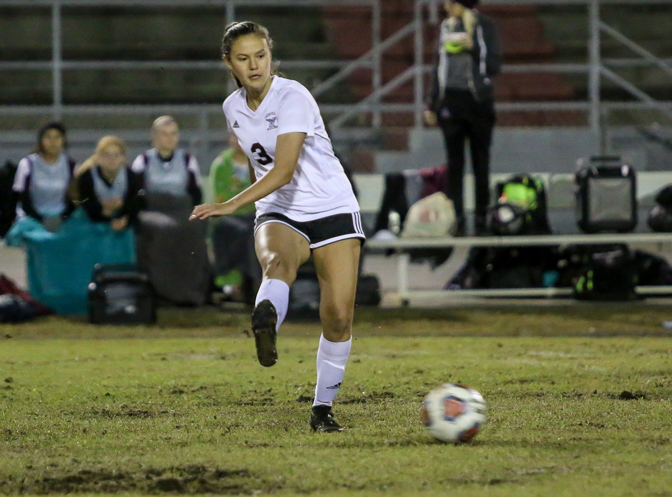 Niceville's Brayden Thomas (3) passes the ball against Navarre in a District 1-4A showdown of unbeaten teams at Navarre High School on Tuesday, December 4, 2018. The game ended in a 1-1 tie.