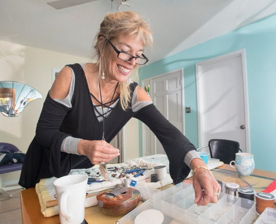 Mary Gentile, co-founder of I Love Me Knot, creates a piece of jewelry in Gulf Breeze on Wednesday, December 5, 2018.  A portion of their proceeds aids those who have been impacted by suicide while reducing the stigma around mental illness.