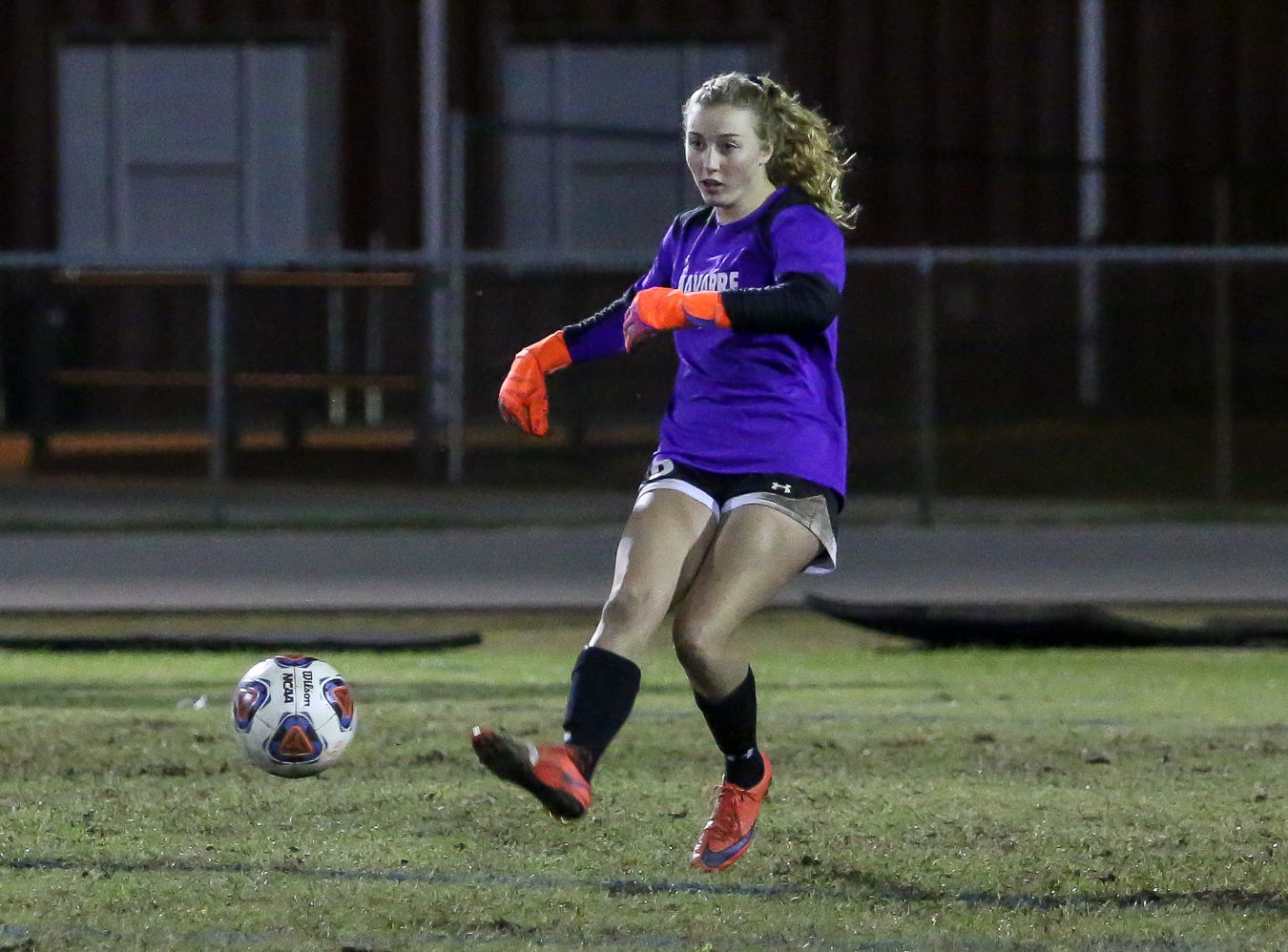 Navarre goaltender Jessika Seward (8) kicks the ball back into play against Niceville in a District 1-4A showdown of unbeaten teams at Navarre High School on Tuesday, December 4, 2018. The game ended in a 1-1 tie.