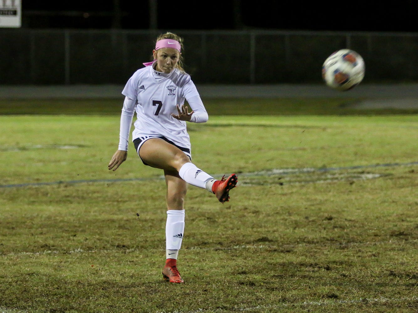 Niceville's Avery Hanson (7) kicks the ball into play against Navarre in a District 1-4A showdown of unbeaten teams at Navarre High School on Tuesday, December 4, 2018. The game ended in a 1-1 tie.