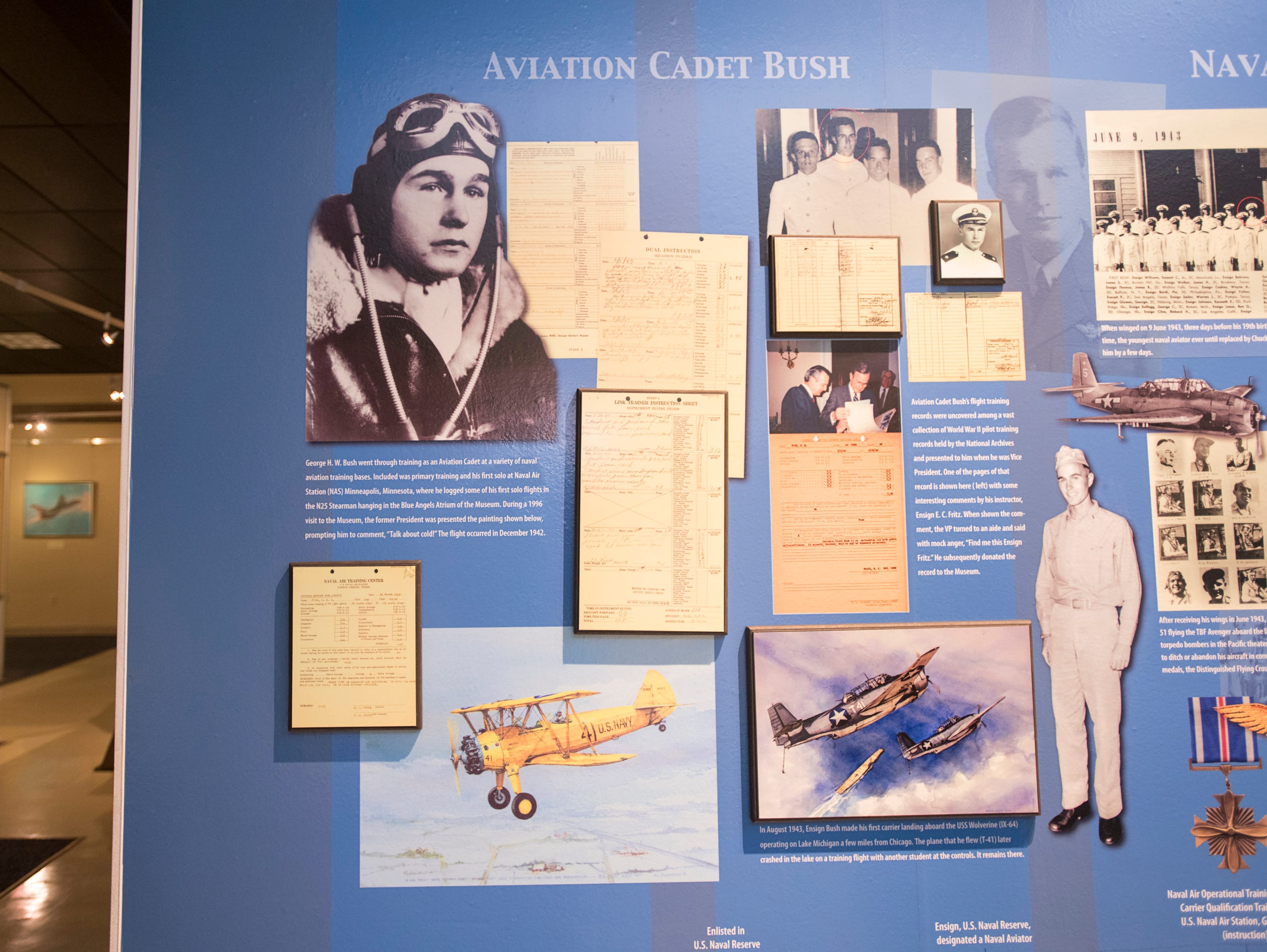 Artifacts from his time as a Naval aviator are part of the President George H.W. Bush display in the art gallery at the National Naval Aviation Museum in Pensacola on Wednesday, December 5, 2018.