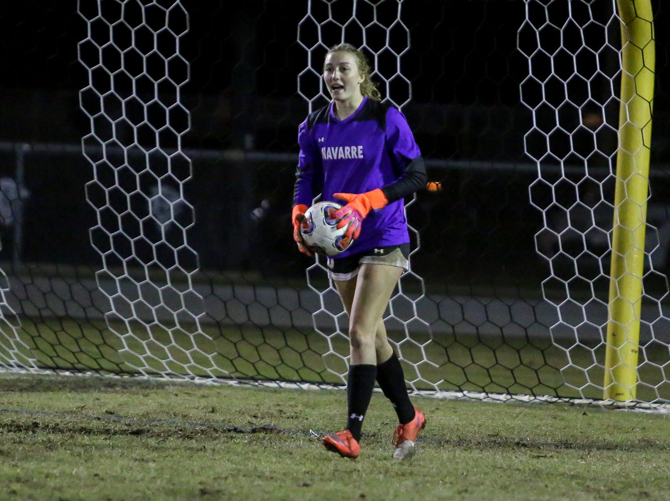 Navarre goaltender Jessika Seward (8) prepares to throw the ball back into play against Niceville in a District 1-4A showdown of unbeaten teams at Navarre High School on Tuesday, December 4, 2018. The game ended in a 1-1 tie.