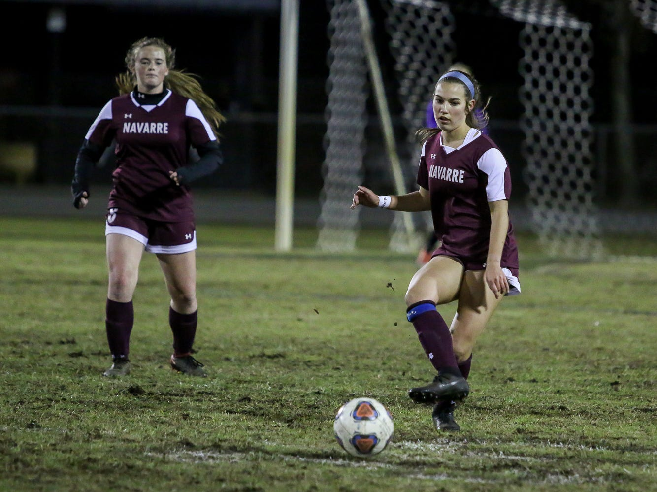 Navarre's Skylar Woods (18) passes the ball against Niceville in a District 1-4A showdown of unbeaten teams at Navarre High School on Tuesday, December 4, 2018. The game ended in a 1-1 tie.