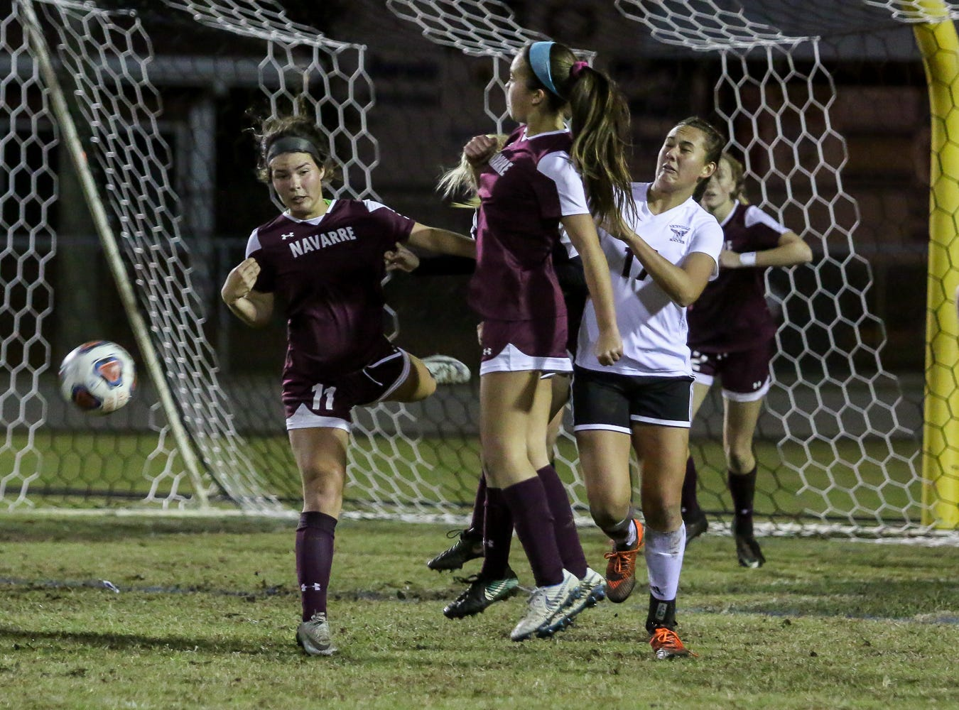 The Navarre defenders help block a Niceville shot in a District 1-4A showdown of unbeaten teams at Navarre High School on Tuesday, December 4, 2018. The game ended in a 1-1 tie.