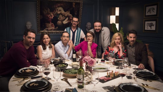 "Director Manolo Caro (rear, in glasses) and his ""Perfectos Desconocidos"" cast:  Manuel García Rulfo (from left), Ana Claudia Talancón, Bruno Bichir, Cecilia Suárez, Franky Martin, Mariana Treviño, and Miguel Rodarte."