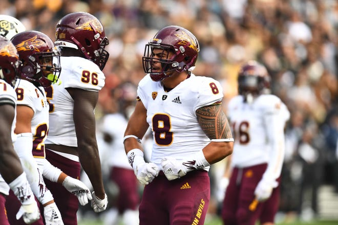 Oct 6, 2018: Arizona State Sun Devils linebacker Merlin Robertson (8) reacts after his tackle in the second quarter against the Colorado Buffaloes at Folsom Field.