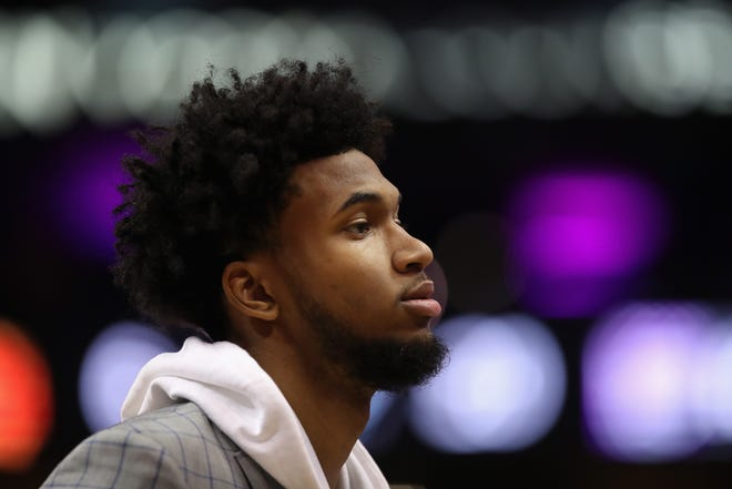Marvin Bagley III #35 of the Sacramento Kings stands on the court during the first half of the NBA game against the Phoenix Suns at Talking Stick Resort Arena on December 4, 2018 in Phoenix, Arizona.