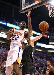Dec 4, 2018; Phoenix, AZ, USA; Phoenix Suns center Deandre Ayton (22) against the Sacramento Kings in the first half at Talking Stick Resort Arena. Mandatory Credit: Mark J. Rebilas-USA TODAY Sports