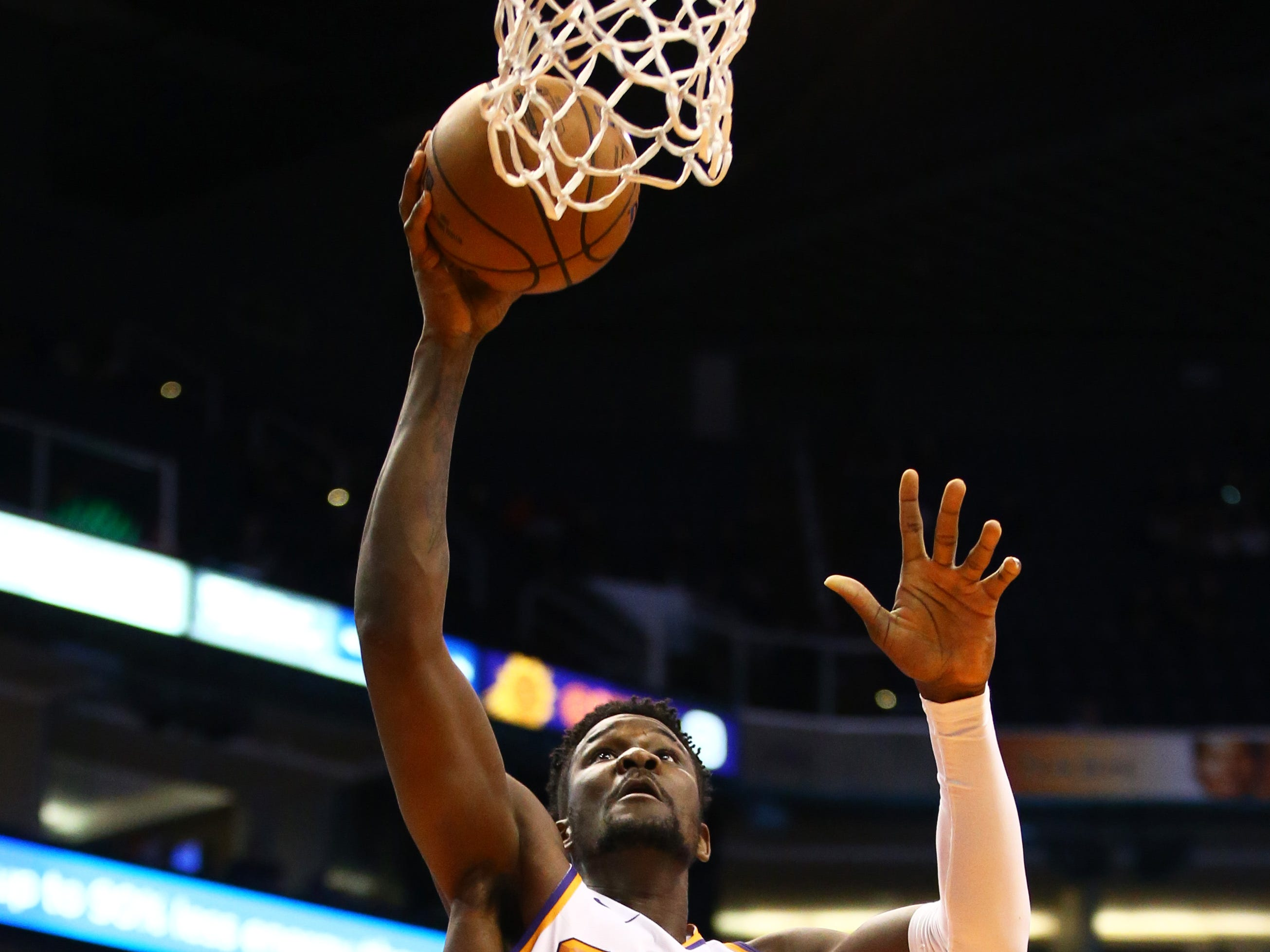 Dec 4, 2018; Phoenix, AZ, USA; Phoenix Suns center Deandre Ayton (22) against the Sacramento Kings in the first half at Talking Stick Resort Arena. Mandatory Credit: Mark J. Rebilas-USA TODAY Sports