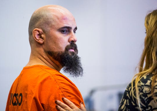 Michael Crane appears in Maricopa County Superior Court in Phoenix Aug. 20, 2018, with his attorney Jamie Sparks.