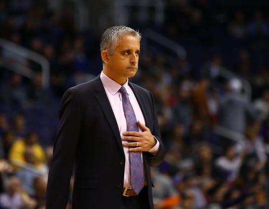 Dec 4, 2018; Phoenix, AZ, USA; Phoenix Suns head coach Igor Kokoskov reacts against the Sacramento Kings at Talking Stick Resort Arena. Mandatory Credit: Mark J. Rebilas-USA TODAY Sports