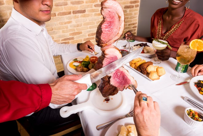 """Galeto Brazilian Steakhouse offers diners a traditional """"churrasco"""" dining experience with barbecued meats carved table side."""