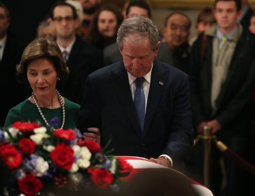 President George H W Bush Lies In State At U S Capitol