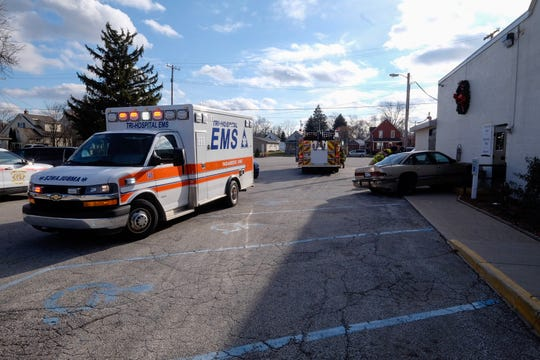 Rescue crews responded to a report of a vehicle striking the Griswold Street Baptist Church Wednesday.