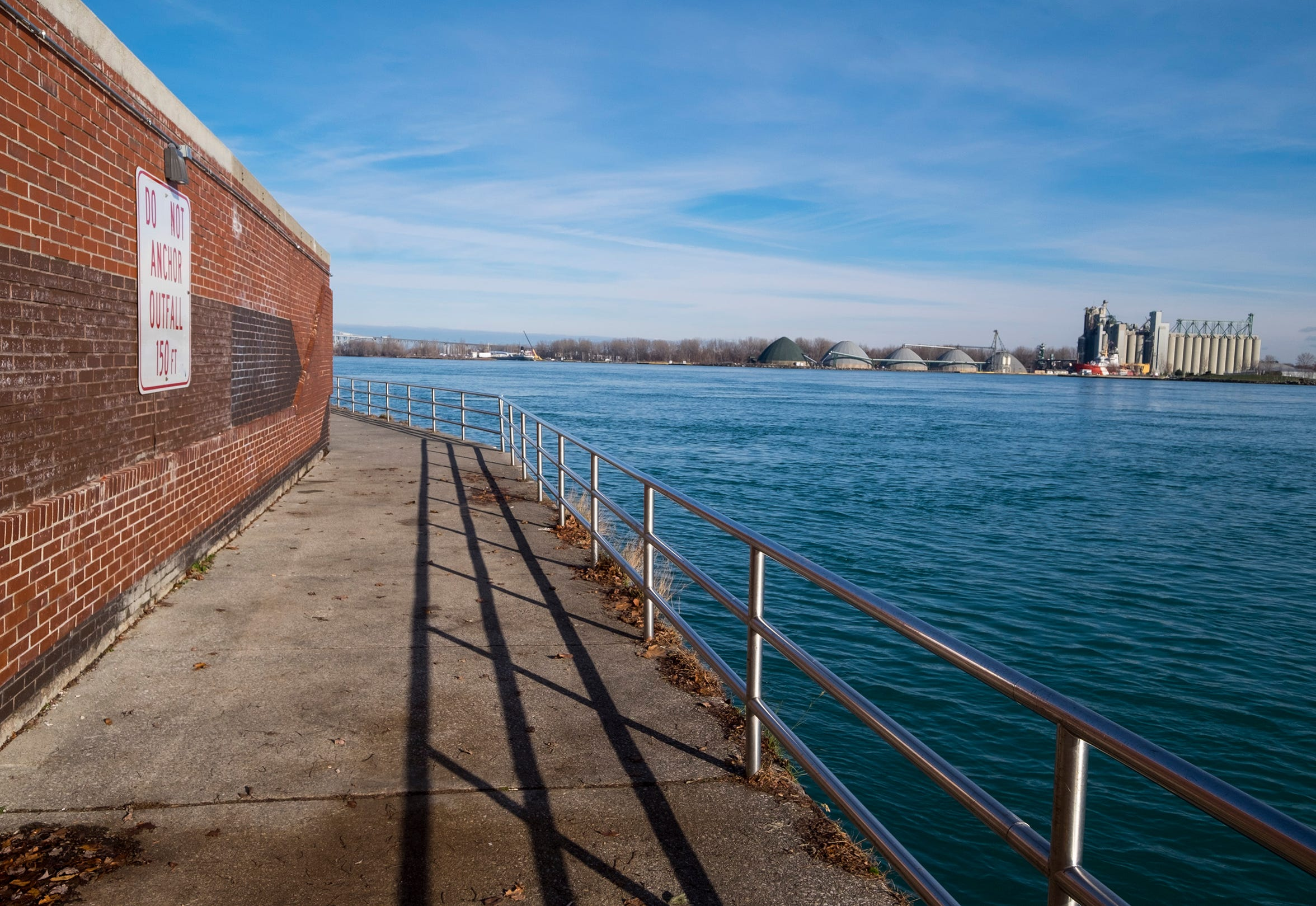 A sign telling boaters not to anchor marks the location of the Port Huron Wastewater Treatment Plant's discharge pipe in the St. Clair River.