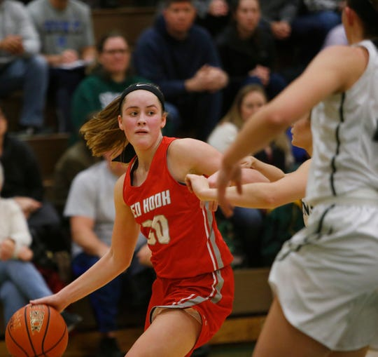 Red Hook's Morgan Tompkins controls the ball during a Dec. 3 girls basketball game against Spackenkill High School.
