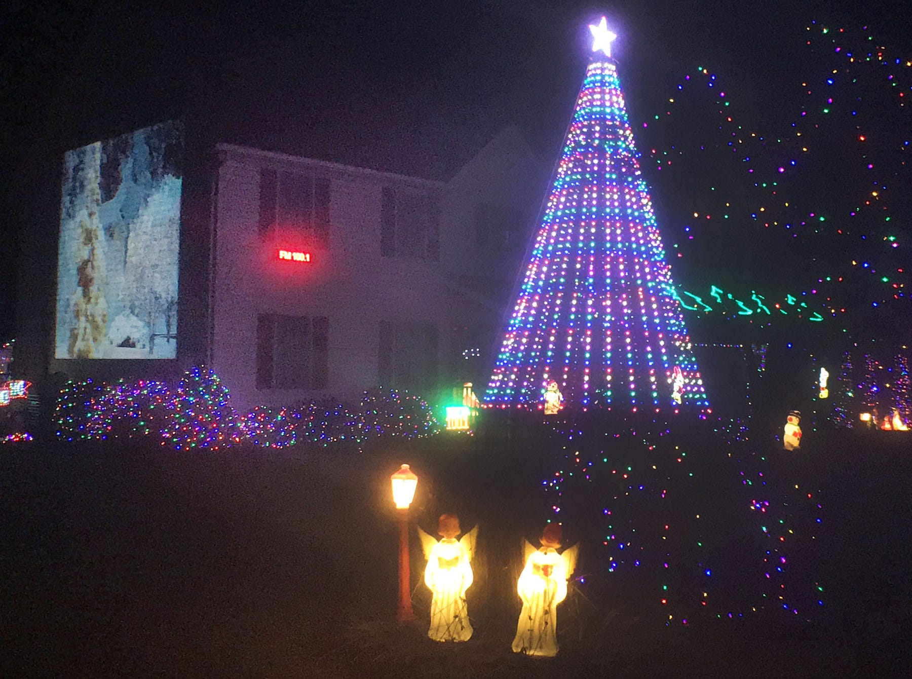A synchronized Christmas display lights the night in the 200 block of Chestnut Drive, Shippensburg.