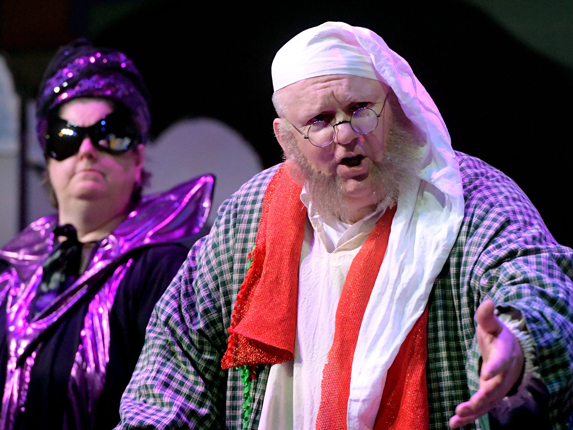 "Dan Gilbert of Red Lion, as Scrooge, and Beth Spahr, of Spring Garden Township, as Sven, the Ghost of Christmas Future, act during a dress rehearsal for ""A Seussified Christmas Carol"" at DreamWrights Tuesday, Dec. 4, 2018. The dual-cast performance presents twelve shows from Dec. 7 through 22 with matinee and evening start times. For show times and dates, go to dreamwrights.org. Bill Kalina photo"
