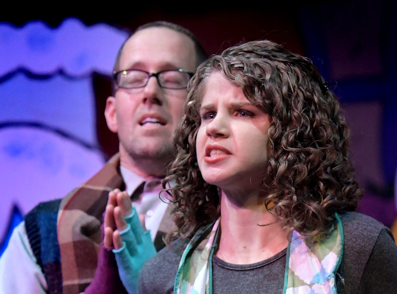 "Eddie Baer of York Township and Kayla Nicholas of Lower Windsor Township play Bob Cratchit and wife during a dress rehearsal for ""A Seussified Christmas Carol"" at DreamWrights Tuesday, Dec. 4, 2018. The dual-cast performance presents twelve shows from Dec. 7 through 22 with matinee and evening start times. For show times and dates, go to dreamwrights.org. Bill Kalina photo"