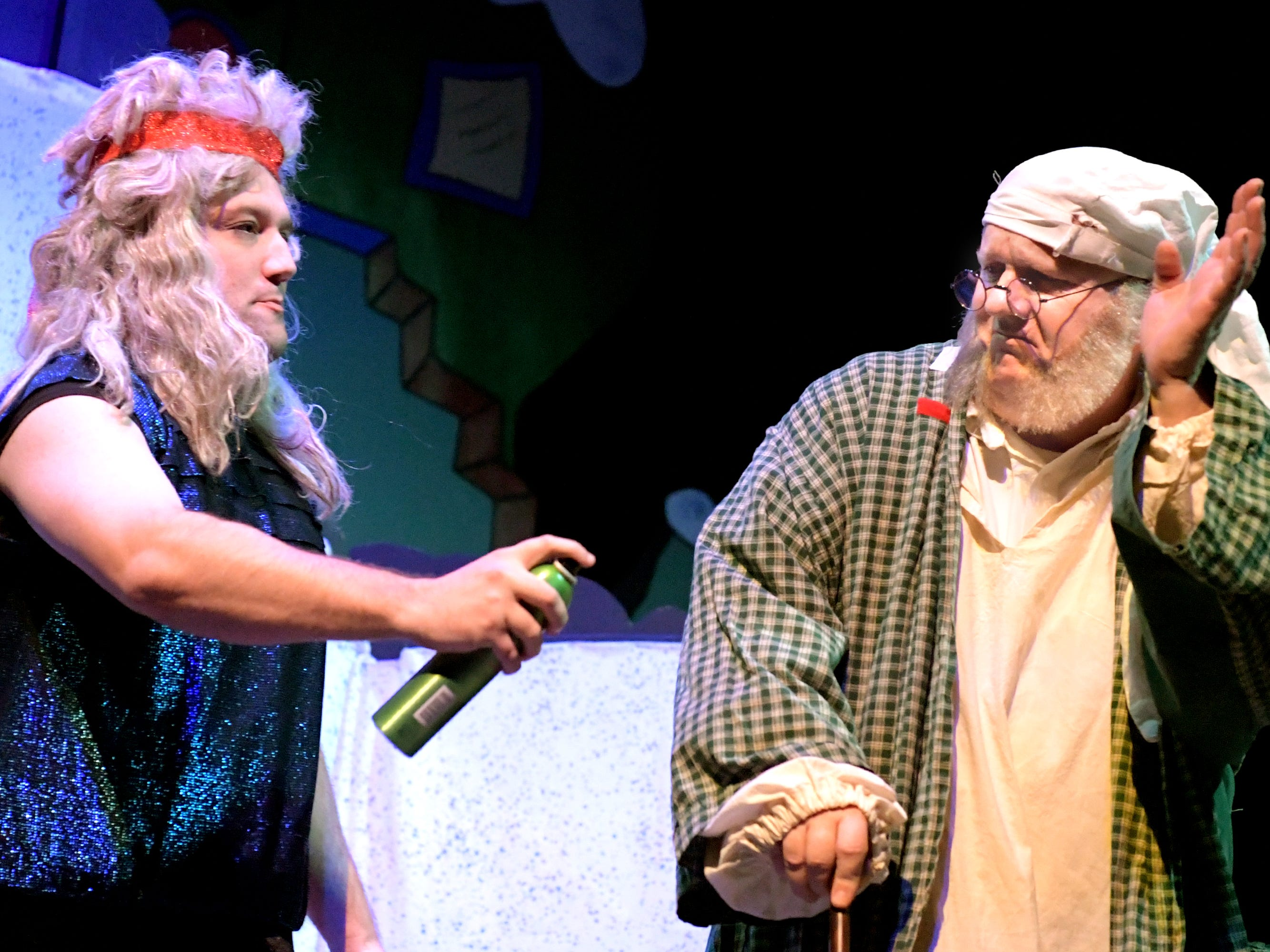 "Ghost of Christmas Past Stephen Nowell of Manchester Township, left, plays a scene with Dan Gilbert of Red Lion, playing Scrooge, during a dress rehearsal for ""A Seussified Christmas Carol"" at DreamWrights Tuesday, Dec. 4, 2018. The dual-cast performance presents twelve shows from Dec. 7 through 22 with matinee and evening start times. For show times and dates, go to dreamwrights.org. Bill Kalina photo"
