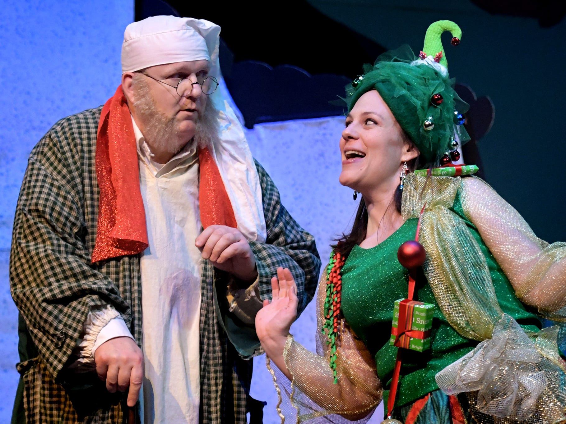 "Dan Gilbert of Red Lion, as Scrooge, plays a scene with Sara Gales of Enola, who plays the Ghost of Christmas Present, during a dress rehearsal for ""A Seussified Christmas Carol"" at DreamWrights Tuesday, Dec. 4, 2018. The dual-cast performance presents twelve shows from Dec. 7 through 22 with matinee and evening start times. For show times and dates, go to dreamwrights.org. Bill Kalina photo"