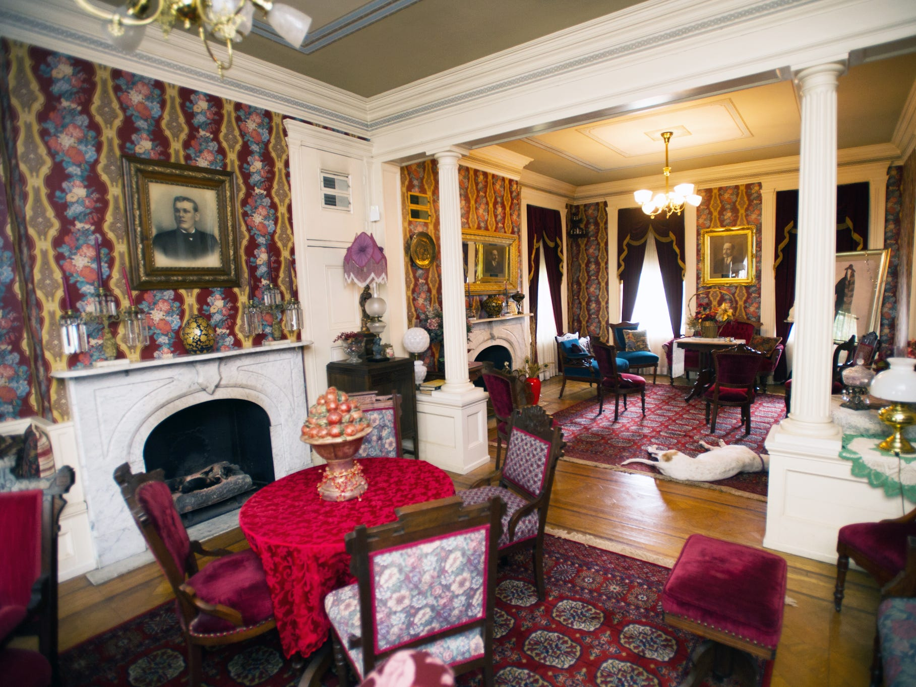 "A ""his and hers"" parlor in the Emig Mansion has two fireplaces. It was designed so men and women would share the same room but in different areas. As the room appeared  in April 2012."