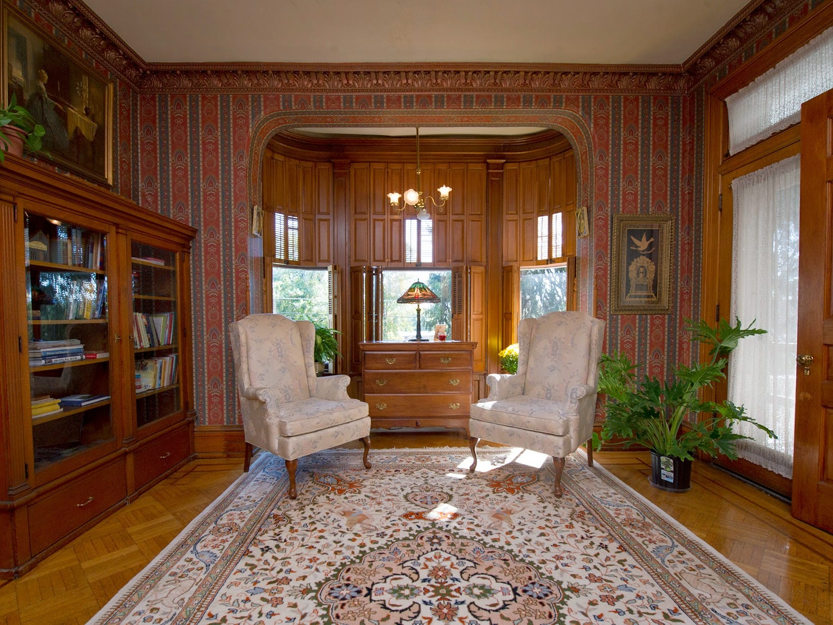 The library of the Emig Mansion as it appeared in September 2014.