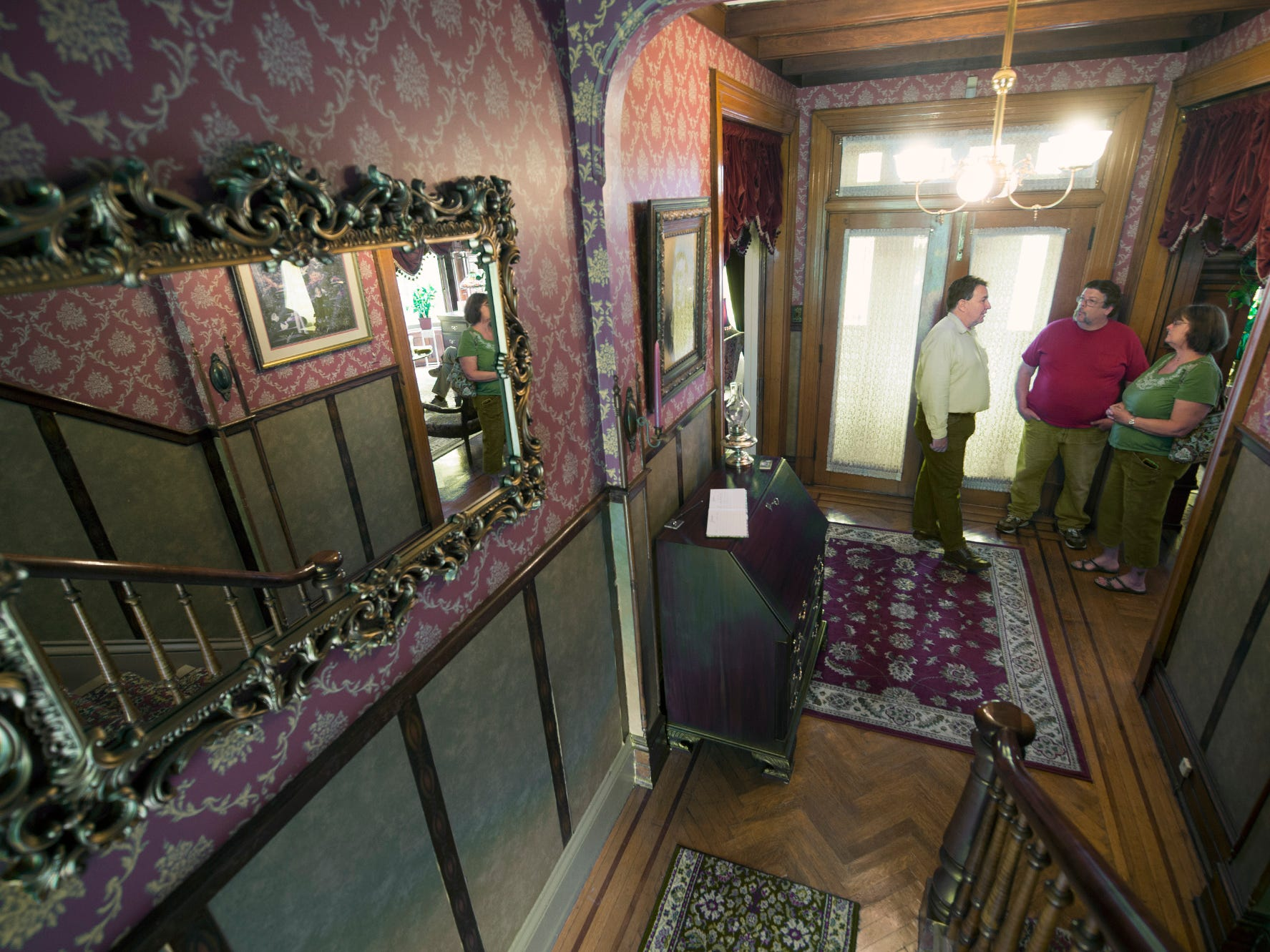 Looking at the front foyer from the main staircase of the Emig Mansion Bed & Breakfast on May 17, 2015.