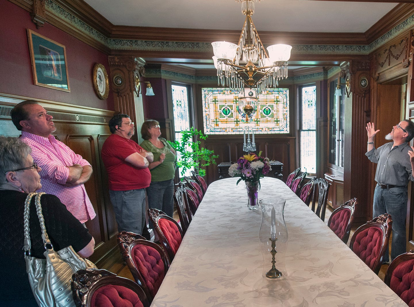 The Emig Mansion is for sale. The complete Bed & Breakfast business with website and reservations for the next year is $595,000. Just the house without furnishings is $475,000.  Terry Downs gives a tour of the dining room during an open house on May 17, 2015.