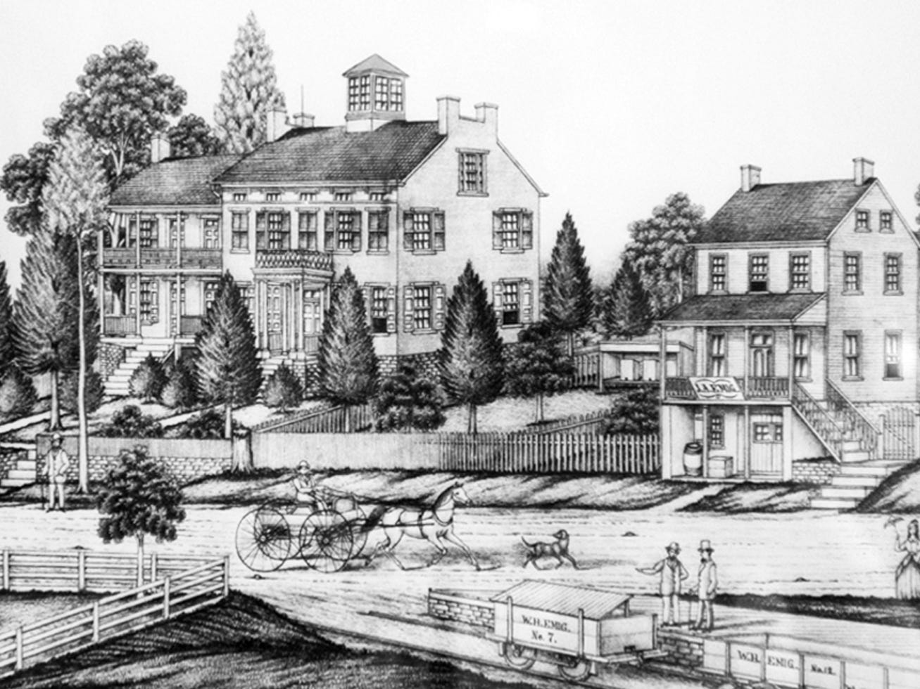 A sketch dated 1856 of the Emig Mansion as it looked from across what is now North George Street.