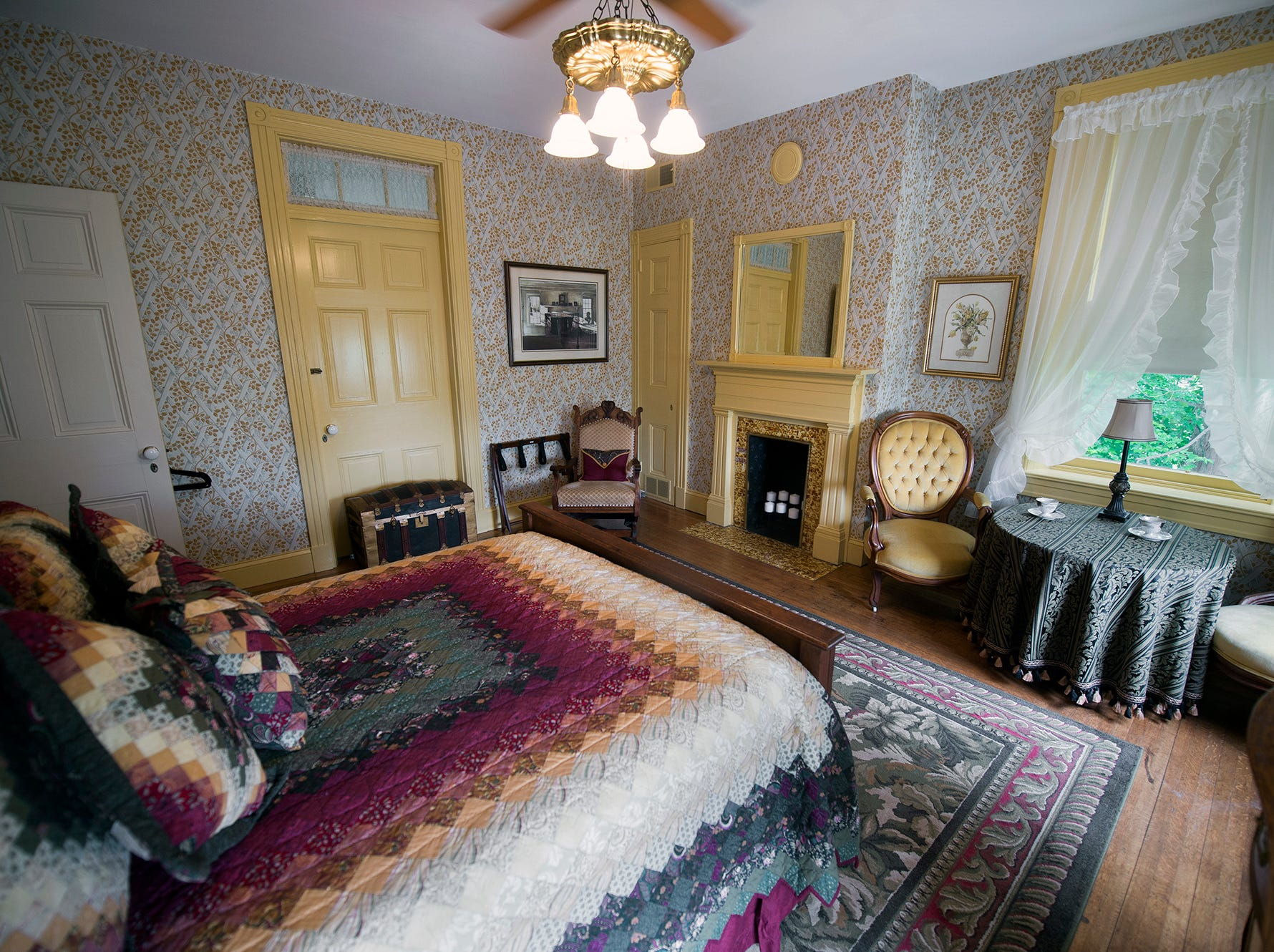 Each fireplace in Emig Mansion Bed & Breakfast is different. A second floor room as it appeared Sunday May 17, 2015.