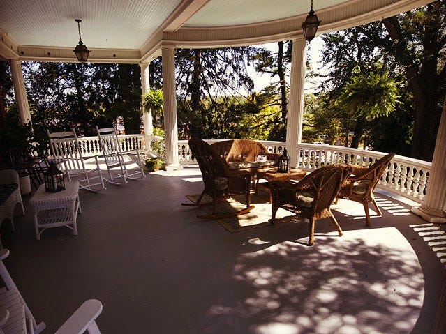 The wrap-around porch of the Emig Mansion in September 2014.