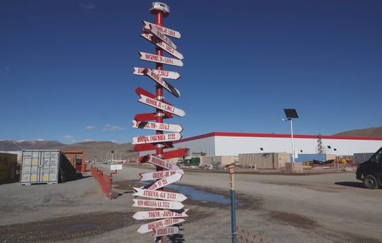 A directional sign for people with global ambition outside the Tesla Gigafactory in Nevada on Dec. 3, 2018.
