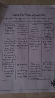 The activities given by a 3rd grade teacher for a digital learning day in Washoe County.