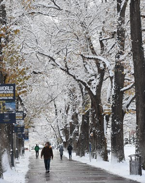A file photo taken on Dec. 5, 2018 showing snow at the University of Nevada, Reno campus. Forecasters with the National Weather service expect to see more snow by Christmas Eve and into Christmas morning.