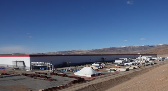 Looking northwest at the exterior of Tesla's Nevada Gigafactory on Dec. 3, 2018.