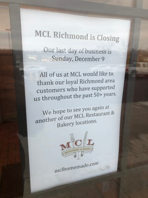 This sign is posted on the front door of the MCL Restaurant & Bakery location at 3801 National Road E. in Richmond.