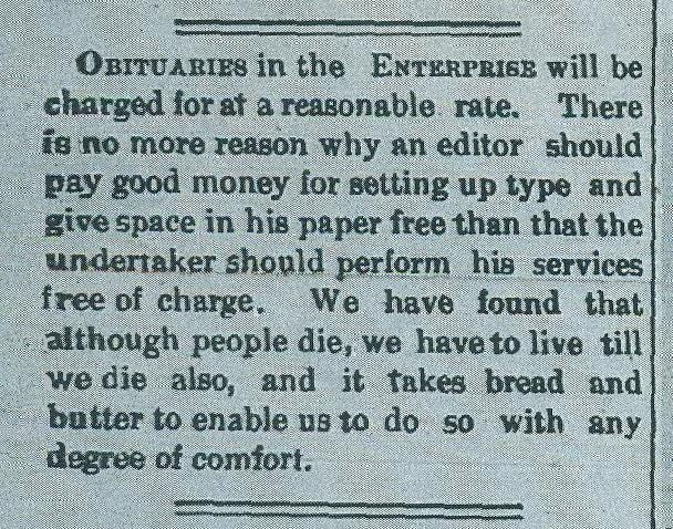 The Dec. 14, 1894, Richmond Enterprise attests that newspapers had the same right to survive as any other business.