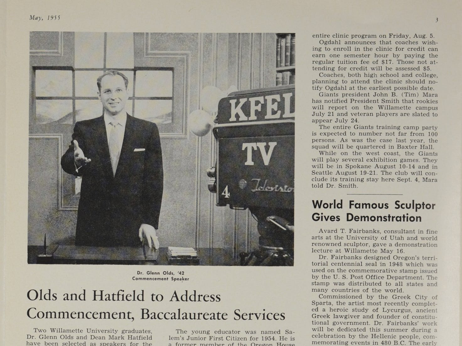 Dr. Glenn A. Olds, Class of 1942, returned to Willamette University in 1955 to speak at commencement.