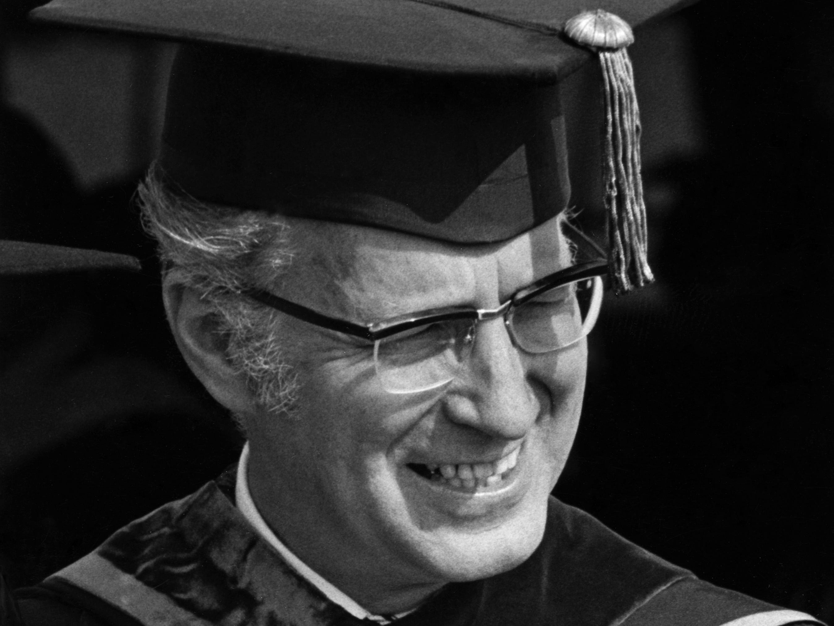 Dr. Glenn A. Olds in academic regalia while serving as president of Kent State University. He became president in the aftermath of the Ohio National Guard shooting and killing four students protesting the Vietnam War in 1970.