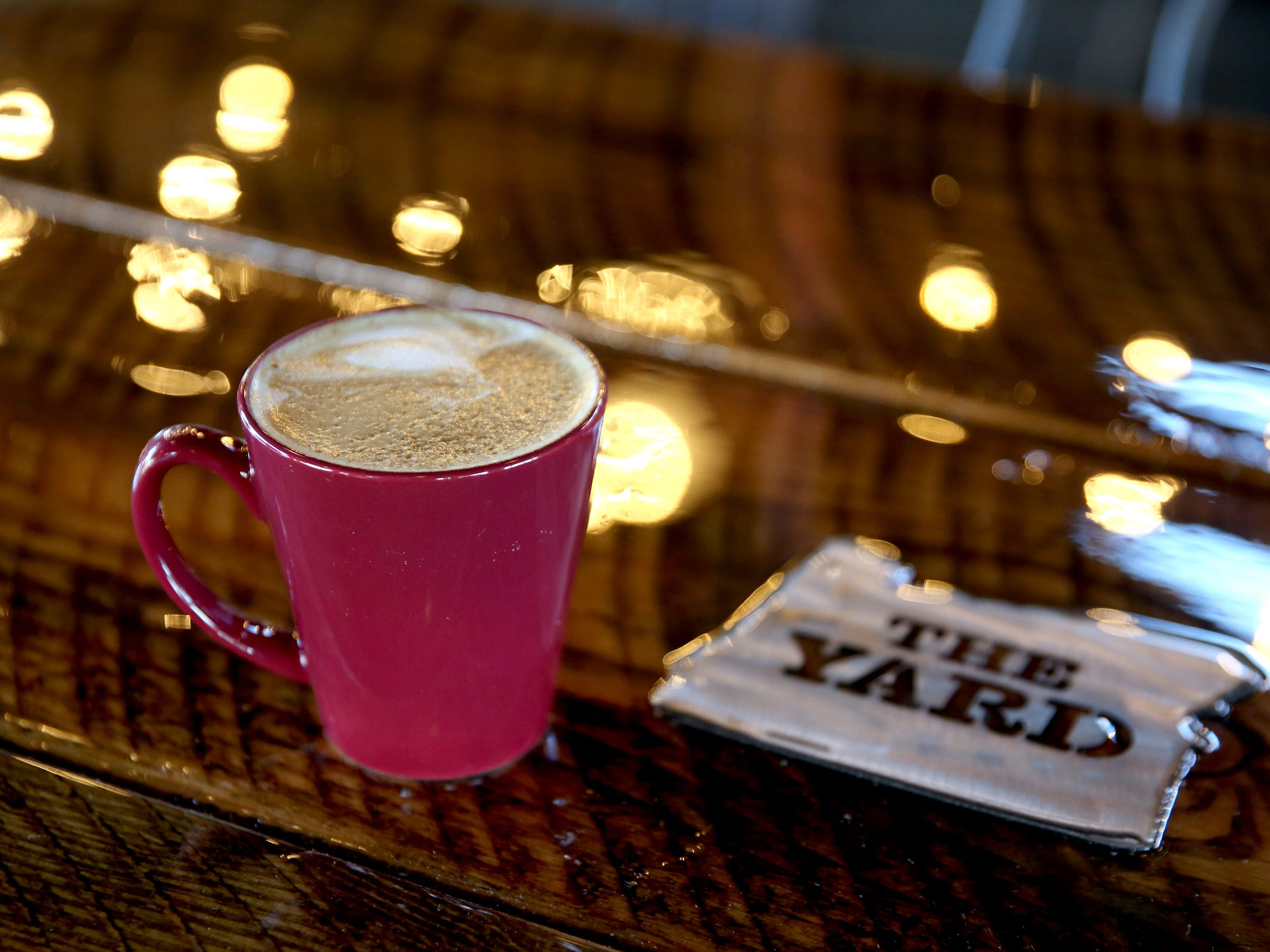 A caramel latte made with sugar-free natural sweeteners and hemp milk at The Yard Food Park in Salem on Wednesday, Dec. 5, 2018. When it opens, The Yard will essentially be part coffee shop, part bar, part event space, and part food truck food court.