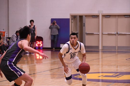 Salinas guard AJ Saldana (10) represents the Cowboys on the South roster for the 12th Annual North-South High School All-Star Basketball Classic.