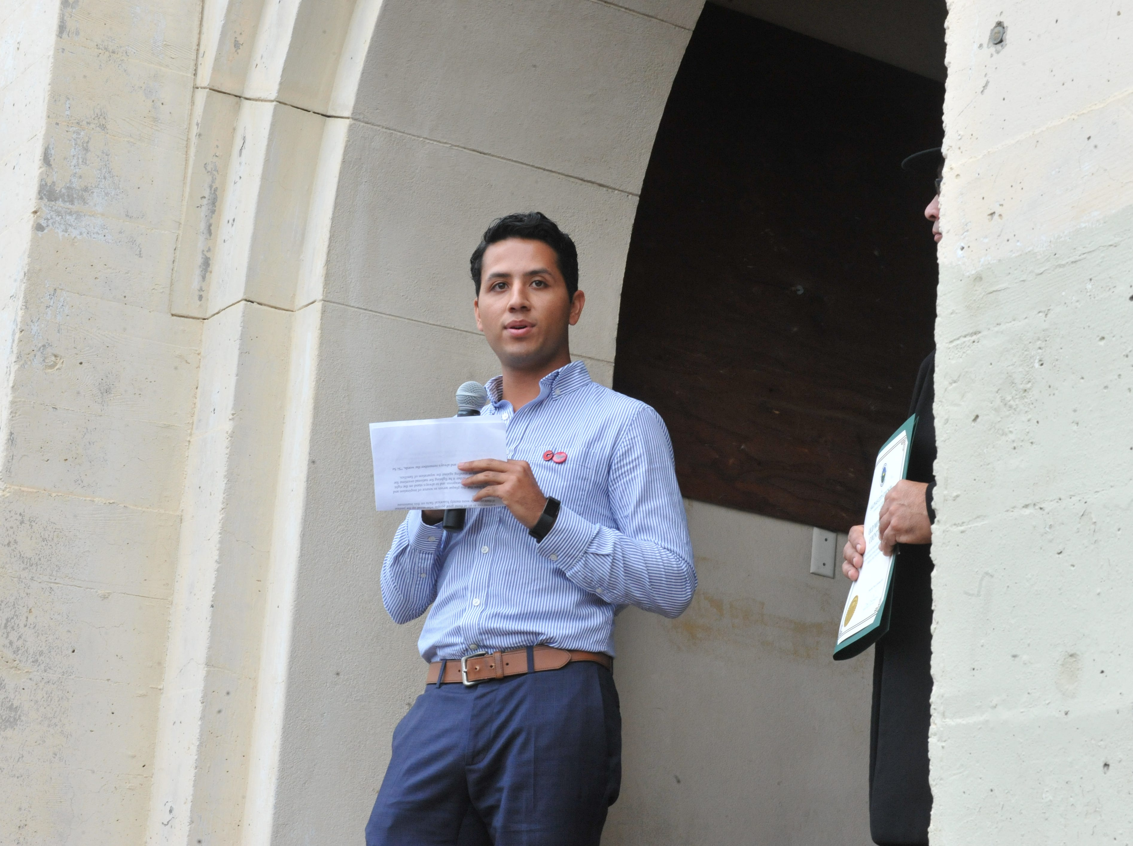 Andres Chavez, Cesar Chavez's grandson, addresses the audience at the plaque ceremony for the old Monterey County Jail.