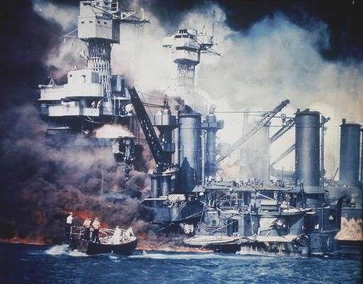A scene from the attack on Pearl Harbor, Dec. 7, 1941.