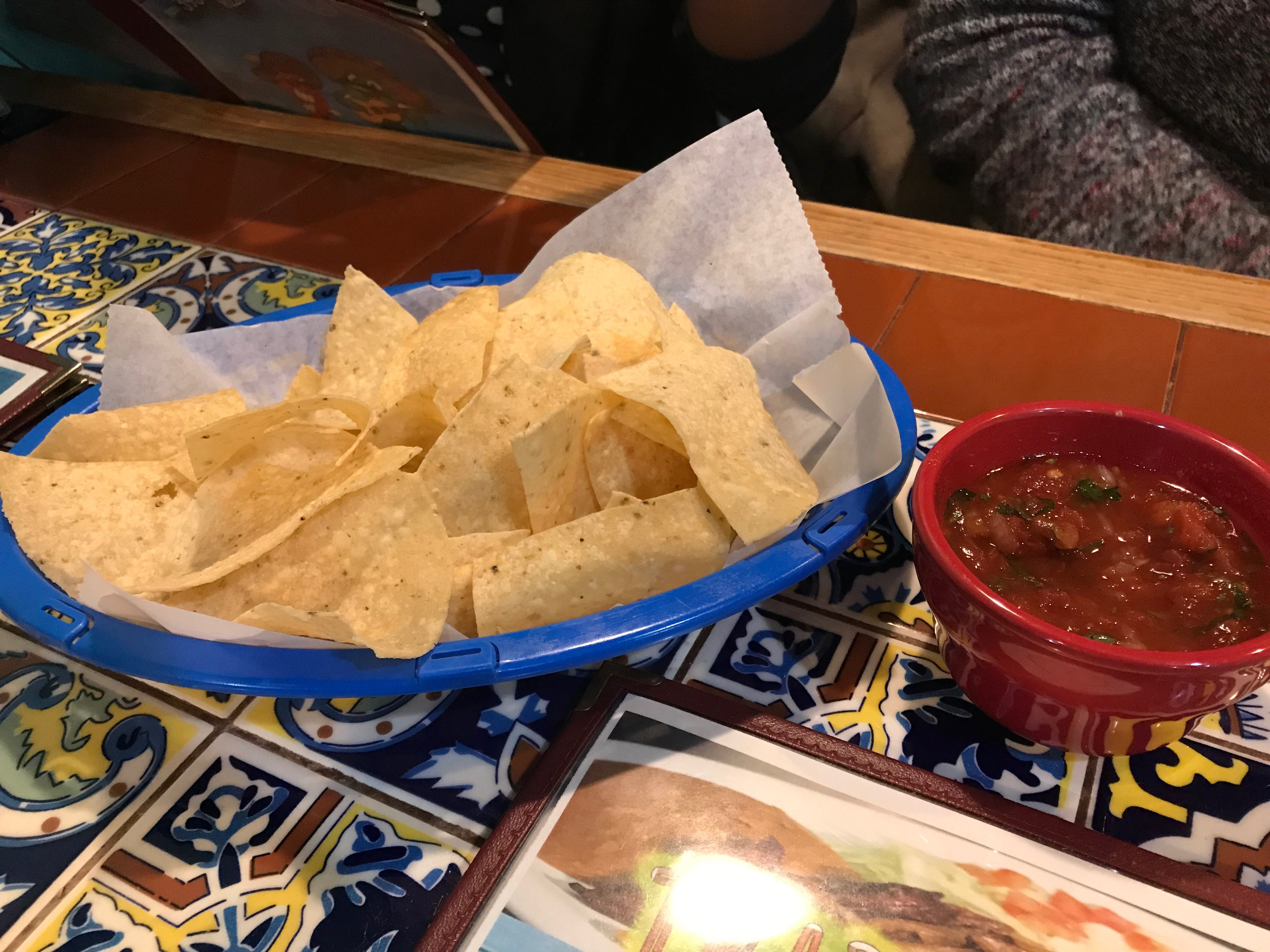 Chips and salsa started off the lunch.