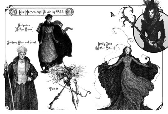 A collage of William Joyce's illustration depicting characters in The Guardians of Childhood series.